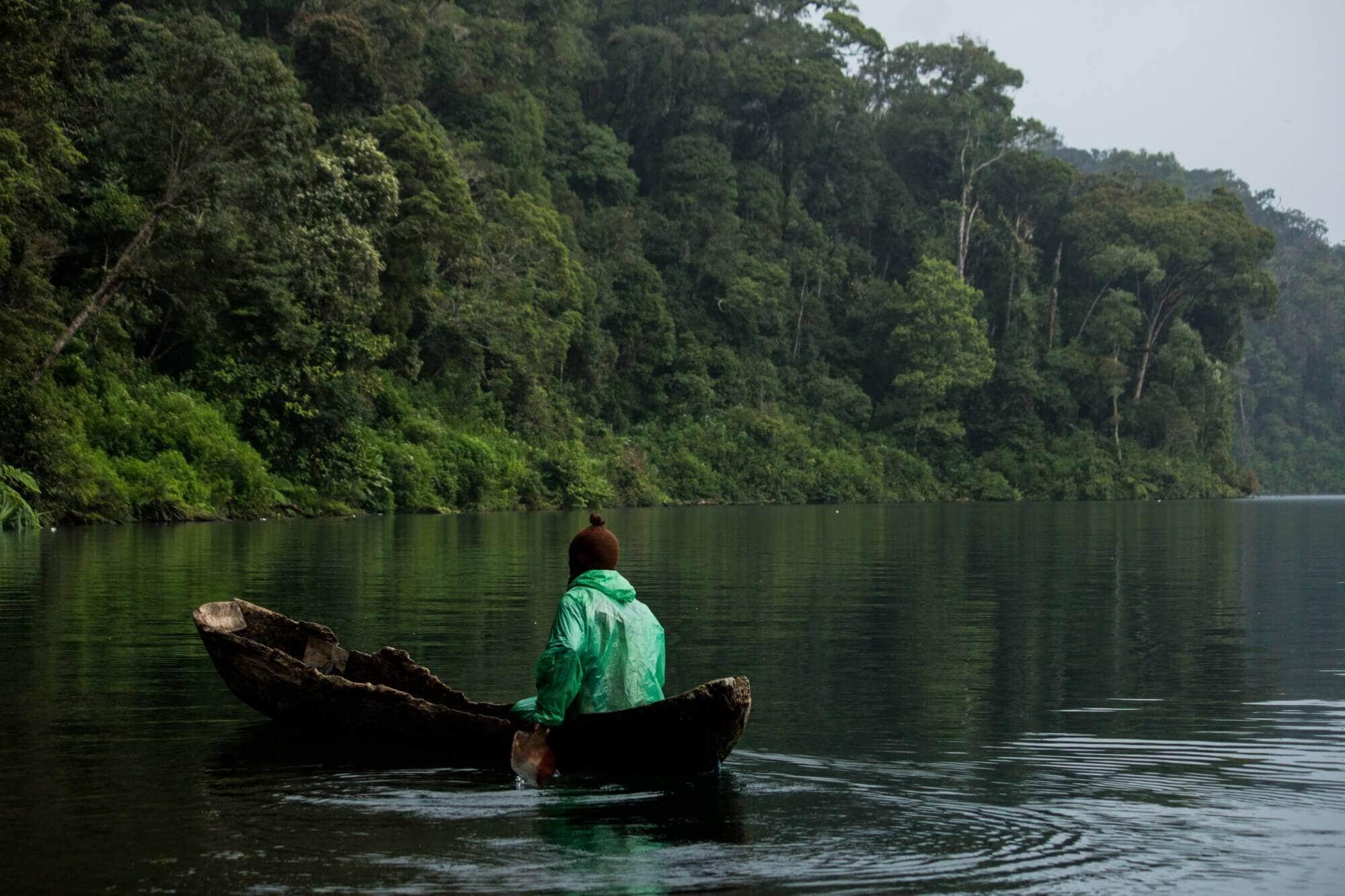 Dugout Canoe on Lake Mt. Tujuh Danau Gunung Tujuh, Kerinci, Jambi, Sumatra, Indonesia