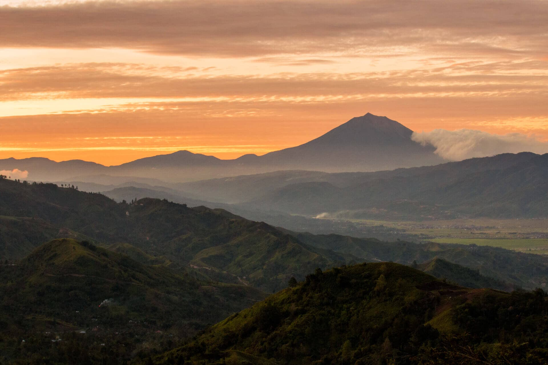 Mt. Kerinci and the Kerinci Valley at Sunset as seen from Bukit Khayangan, Kerinci, Jambi, Sumatra, Indonesia