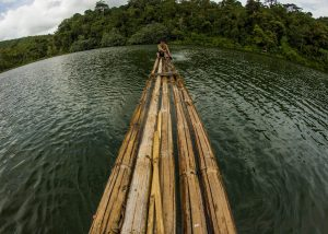 A Bamboo raft on Lake Lingkat, Danau Lingkat, Kerinci, Jambi, Sumatra jungle trekking Indonesia