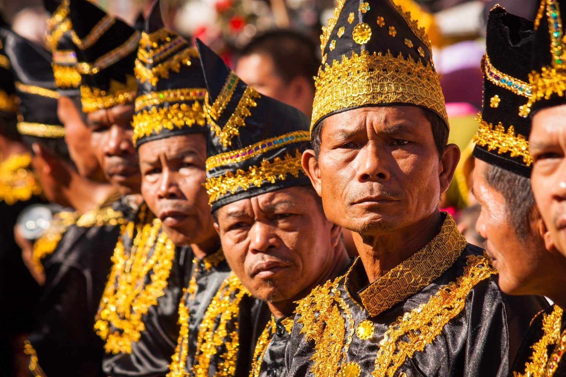 Men in traditional Kerinci attire, Kenduri Sko festival in Semurup, Jambi, Sumatra, Indonesia