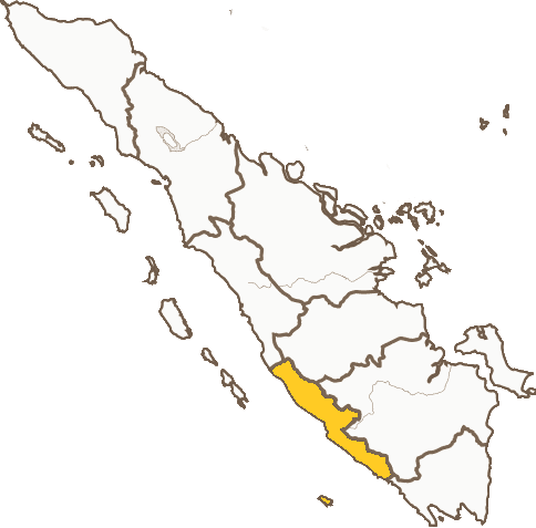 A map of Bengkulu province on Sumatra